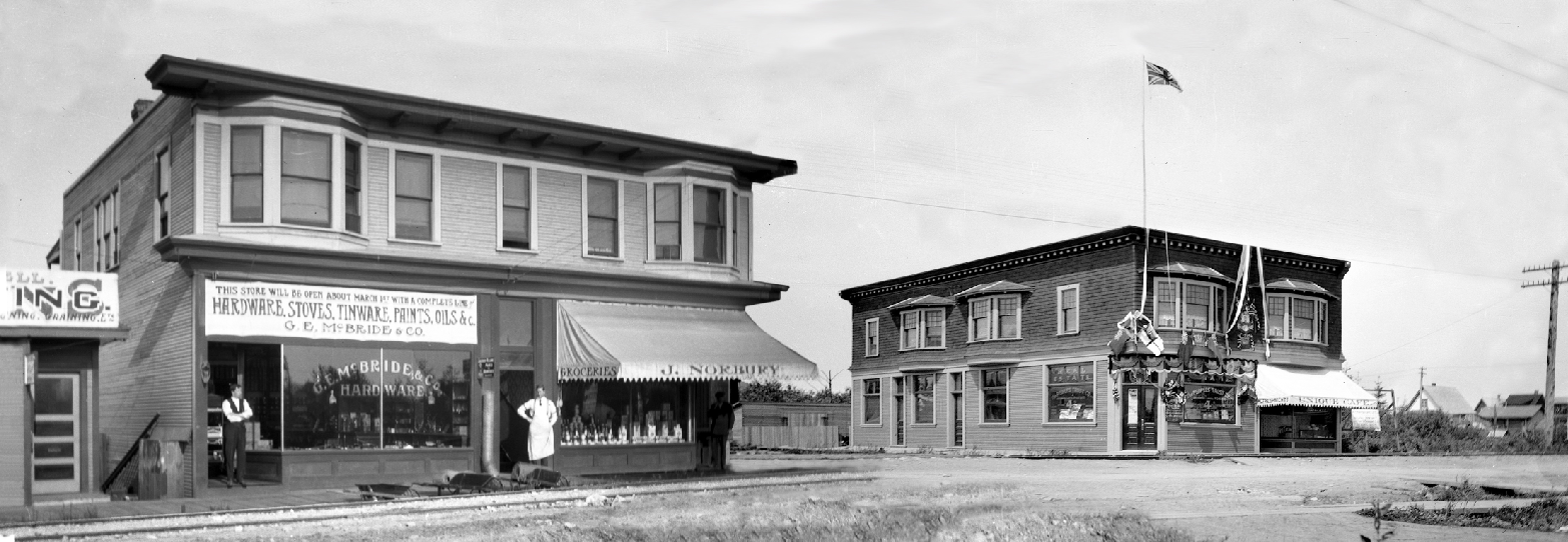 Businesses along Fraser Street near 47th Avenue, circa 1910. Photo credit: Composite photo from Tucker-Goode Family Archives