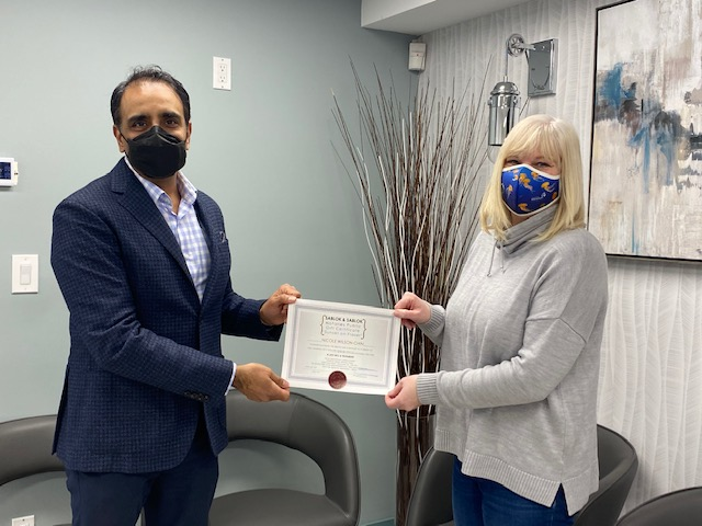 Nicole is our winner of the $250 gift certificate for a Will and receives it from Akash of Sablok Sablok Notaries Public at their office at Fraser & 45th Ave.